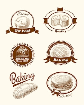Set of bakery badges in vintage style