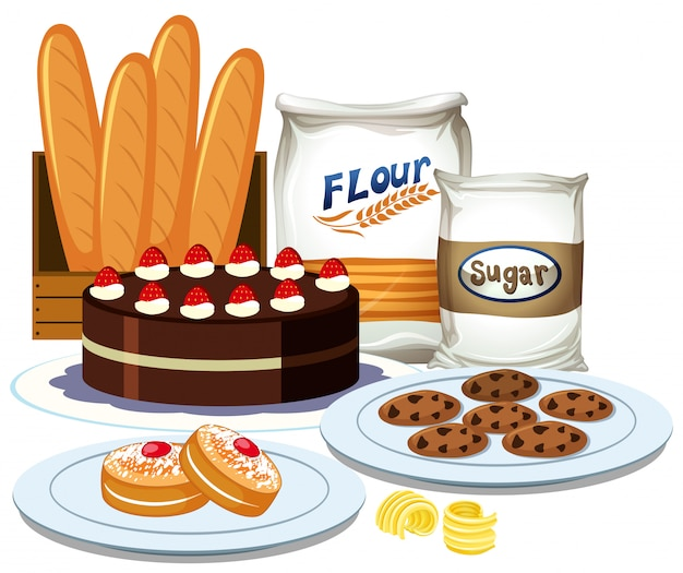 Set of bakery element collection