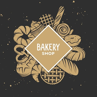 Set of bakery engraved elements