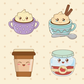 Set of bakery food kawaii characters