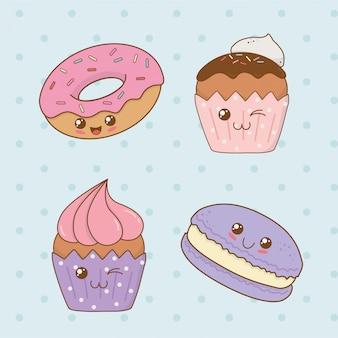 Set of bakery food kawaii characters