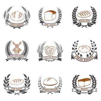 Set of bakery labels. bread shop, fresh bread.  elements for label, emblem, sign.  illustration