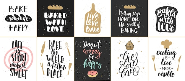 Set of   bakery lettering posters