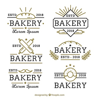 Set of bakery logos in flat style