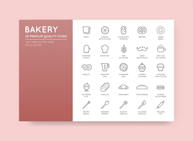 Set of  bakery pastry elements and bread icons illustration can be used as logo or icon in premium quality