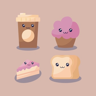 Set bakery pastry kawaii character