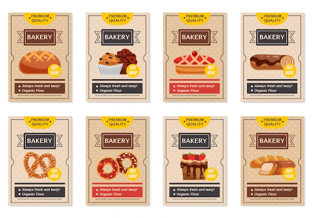 Set of bakery posters