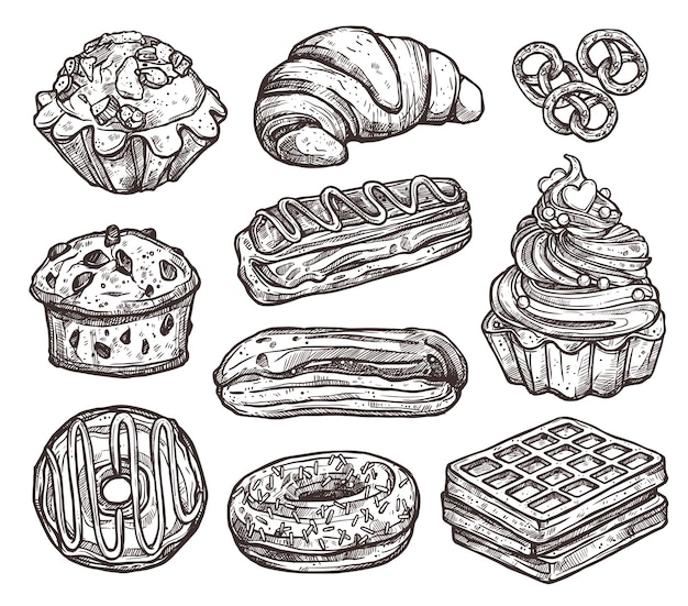 Set of bakery products and sweets