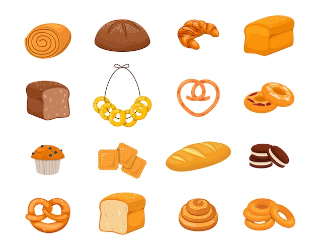 Set of bakery products