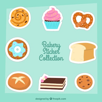 Set of bakery stickers in 2d style
