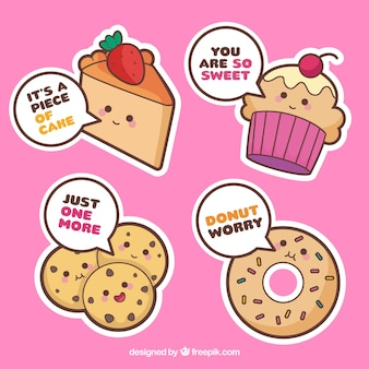 Set of bakery stickers with pastries and bread