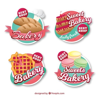 Set of bakery stickers with sweets and bread