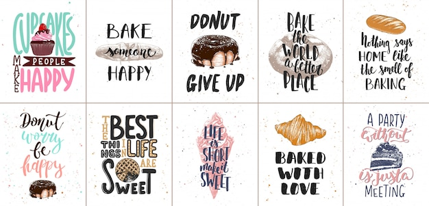 Set of bakery and sweet food lettering