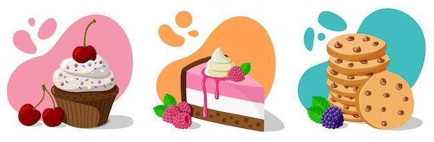 Set of baking dessert with berries