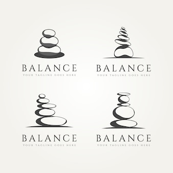Set of balancing stone minimalist classic logo template vector illustration design