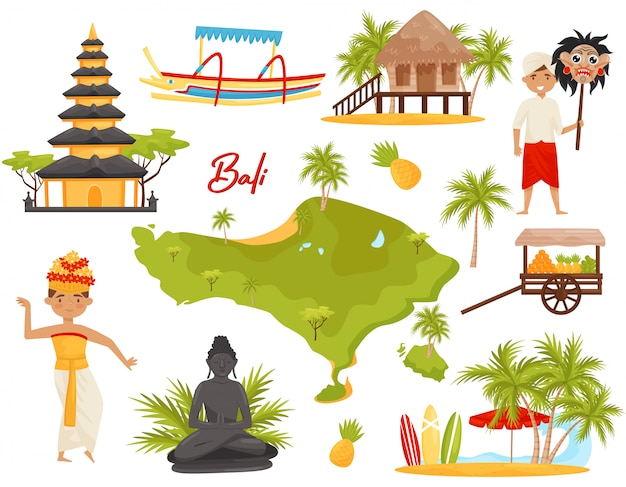 Set of balinese landmarks and cultural objects. people, historical monuments, map of bali island