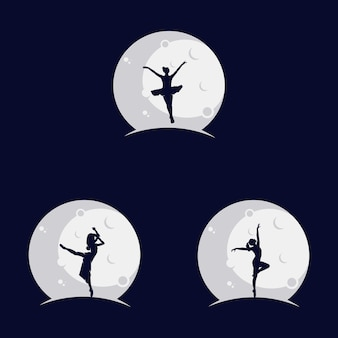 Set of ballerina dancing on the moon