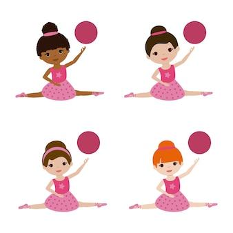 Установите балерины с мячом