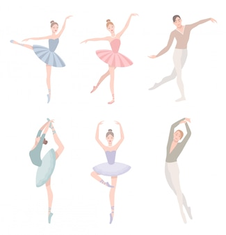 Set of ballet dancer. illustration in flat style. girl and guy in tutu dress, different choreographic position collection.