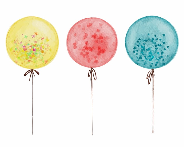 Set of the balloon isolated watercolor elements with pink hearts multicolored stars