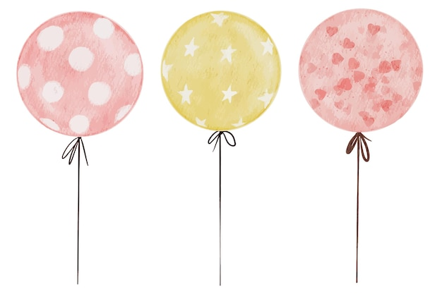 Set of balloon isolated watercolor elements with pink hearts white dots and stars