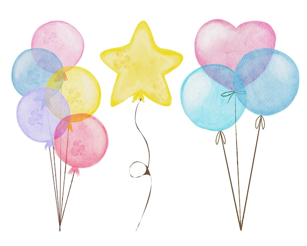Set of balloon isolated watercolor elements with redpink and blue hearts colorful stars
