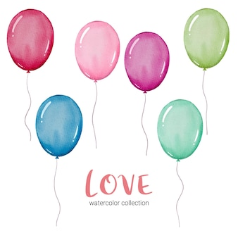 Set of balloon,  isolated watercolor valentine concept element lovely romantic red-pink hearts for decoration, illustration.