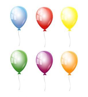 Установить воздушные шары разных цветов на белом