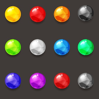 Set of balls of various colors gems diamonds pearls