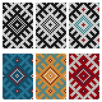 Set of baltic knitting seamless patterns