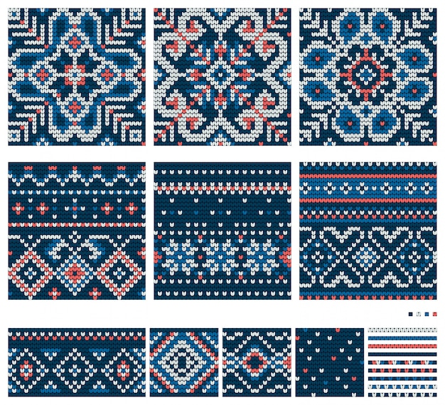 Set of baltic star knitting patterns, vector seamless patterns, blue, white and coral