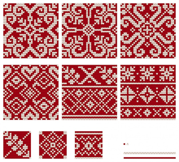 Set of baltic star knitting patterns, vector seamless patterns
