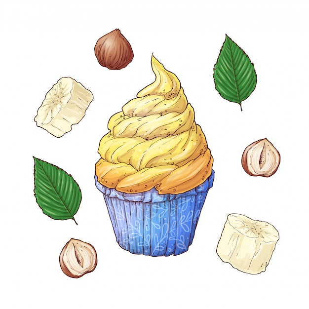 Set of banana nuts cupcake