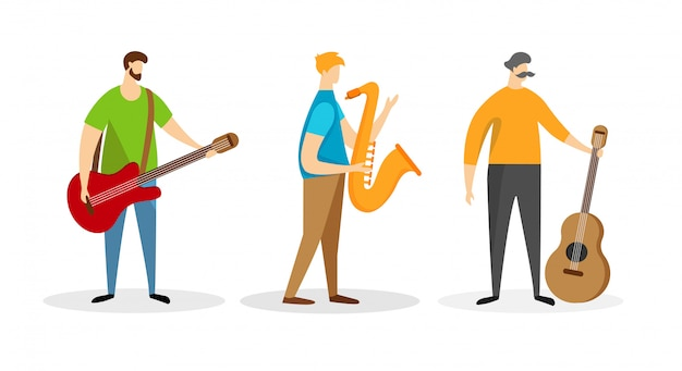 Set of band music player male characters isolated.
