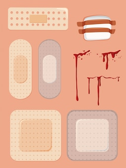 Set of bandaids and cuts