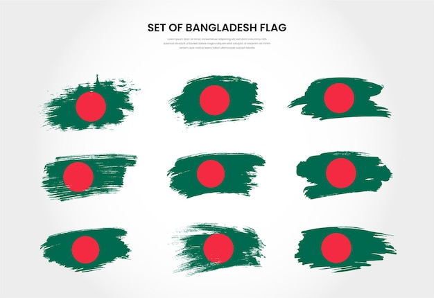 Set of bangladesh country grunge brush stroke flags collection