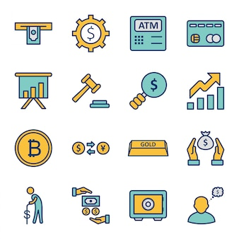 Set of  banking icons   isolated elements