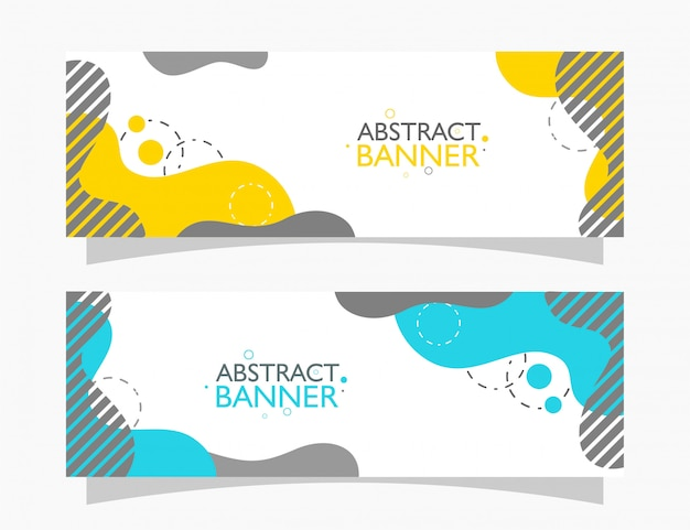 Set of banner background with fluid abstract shapes