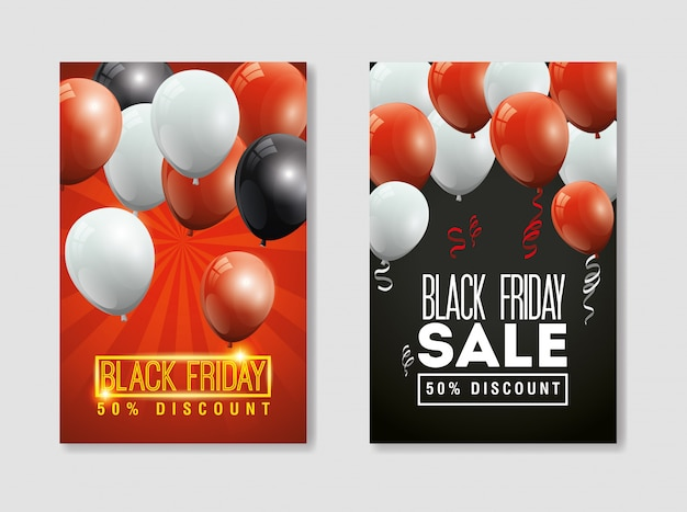 Set banner black friday with balloons helium decoration