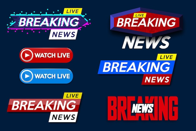 Set banner for breaking news template title on blue background for screen tv channel