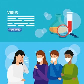 Set banner of coronavirus 2019 ncov
