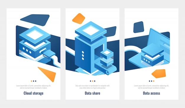 Set of banner for data storage access and processing, server room, datacenter isometric