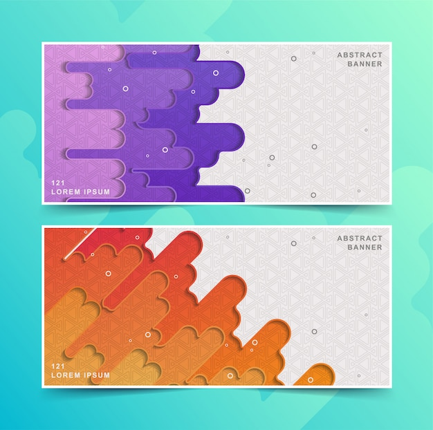 Set of banner design colorful abstract shapes
