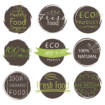 Set of banner eco product, natural, vegan, organic, fresh, healthy food.