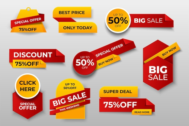 Set of banner elements, discount tag collection, special offer.