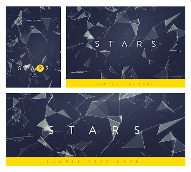 Set of banner or flyer layouts.  abstract mesh backgrounds with circles, lines and triangular shapes.