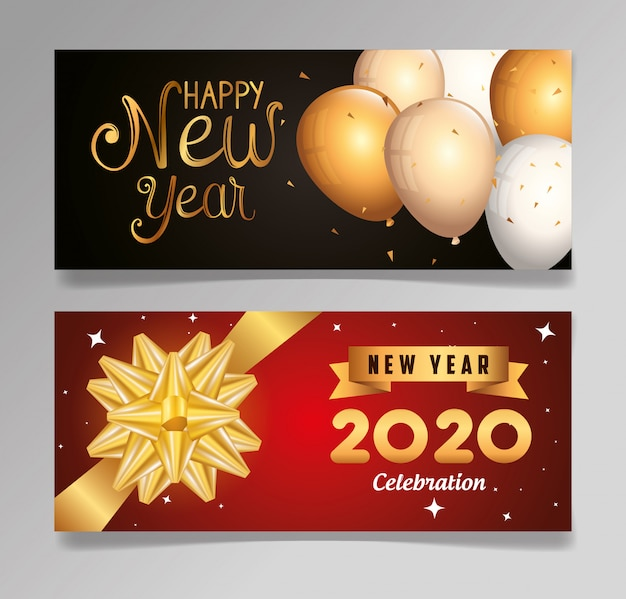 Set banner of happy new year 2020 with decoration