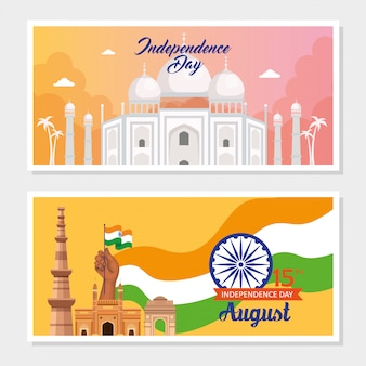 Set of banner, indian happy independence day