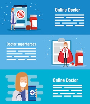 Set banner of medicine online technology with icons Premium Vector