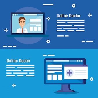 Set banner of medicine online technology Premium Vector